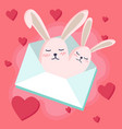 happy valentines day with bunny in love vector image vector image