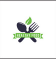 healthy food logo design organic nature vector image vector image