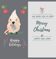 holiday duo postcard with funny bird and berries vector image vector image