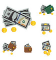 icons beautiful wallets with money in a vector image vector image