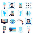 identification technologies icons set vector image vector image