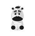 isolated cute zebra on white background vector image vector image