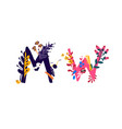 latin letters m and w in colors and things vector image vector image