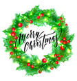 merry christmas trendy quote calligraphy on white vector image vector image