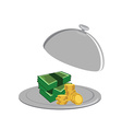 Money on serve plate vector image vector image