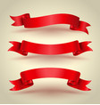 red ribbon banner set vector image vector image