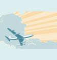 retro airplane flying in clouds air travel vector image vector image