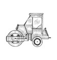 road roller tractor machine sketch engraving vector image vector image