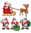 santa claus cartoon set vector image