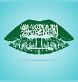 saudi arabia flag lipstick on the lips isolated on vector image