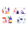 set business people work with huge pile vector image vector image