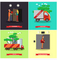 set delivery posters in flat style vector image