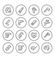 set round line icons of electric and hand tool vector image vector image