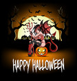 sexy devil woman sitting on a halloween pumpkin vector image