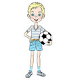 sports boy with soccer ball vector image