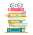 stack books with glasses on top vector image