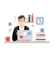 stressed busy young businessman character sitting vector image vector image