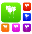 three balloons in the shape of heart set color vector image