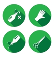 Tool icons set Glue rubber gloves scissors vector image