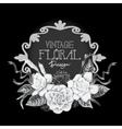 Vintage monochrome floral design vector image