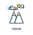 vision icon and acheive goal on white background vector image vector image