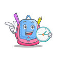 with clock school bag character cartoon vector image