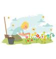 woman planting flowers in spring garden cartoon vector image vector image