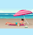 woman sunbathing on beach vector image vector image