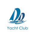yacht club icon design with sailing sport sailboat vector image