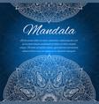 card with glow mandala blue invitation card vector image
