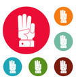 hand three icons circle set vector image