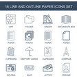 16 paper icons vector image vector image