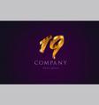 19 nineteen gold golden number numeral digit logo vector image vector image