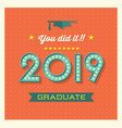 2019 graduation card or banner vector image vector image