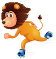 a lion ice skating vector image vector image