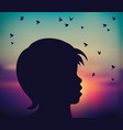 abstract child silhouette sunrise birds fly vector image