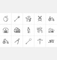 agriculture hand drawn sketch icon set vector image vector image