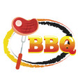 bbq steak on fork circle background image vector image vector image