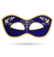 Blue mask with golden braid vector image vector image