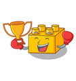 boxing winner plastic building tyos shaped on vector image vector image