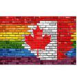 brick wall canada and gay flags vector image vector image