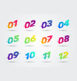 bullet points numbers with glitch effect vector image vector image