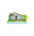 bungalow wooden house on water with palm trees vector image