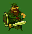 cartoon medieval bearded viking warrior in horned vector image vector image