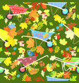 colorful seamless texture with cute garden vector image vector image