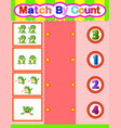 count and match frog cartoon math educational game vector image