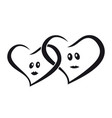 couple of lovers hearts man and woman together vector image