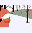 cute baby fox in the spring summer forest card vector image vector image