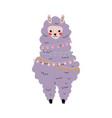 cute llama adorable lilac alpaca animal character vector image vector image