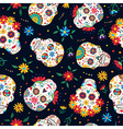 day dead floral skull pattern background vector image